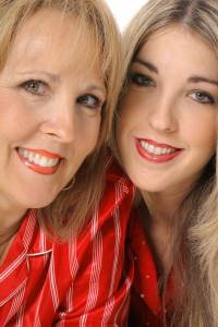 mother daughter headshot vertical isolated