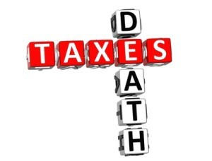 3D Death Taxes Crossword on white background