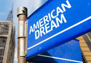 American Dream blue road sign