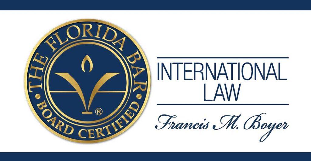 seau barreau de Floride, Droit International, Francis M. Boyer