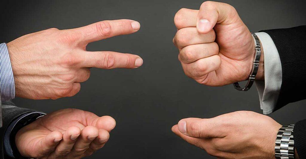 mains, pierre papier ciseaux, négociations, mode alternatif de règlement des conflits