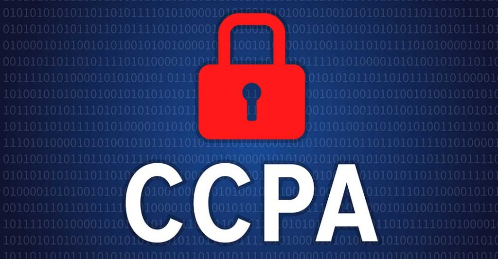 fond avec code binaire, cadenas rouge et lettres capital CCPA, California Consumer Protection Act, Impact du California Consumer Protection Act sur  le contentieux civil